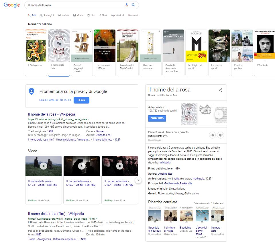 Risultati ampia ricerca su Google Libri