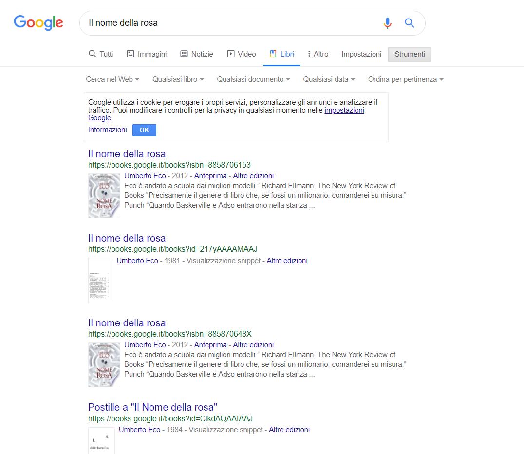 Serp di Google ricerca libri