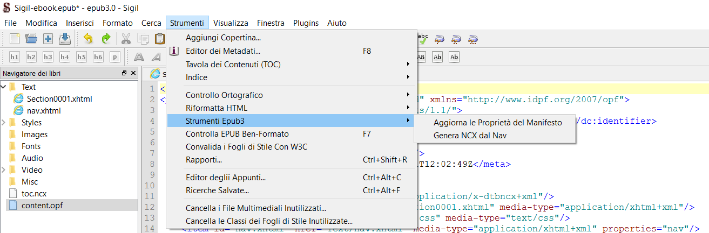 Sigil: strumenti ePub3