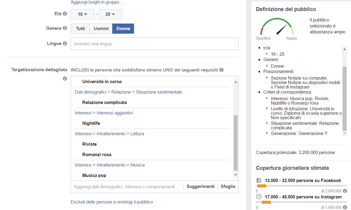 Facebook Ads - target pubblico