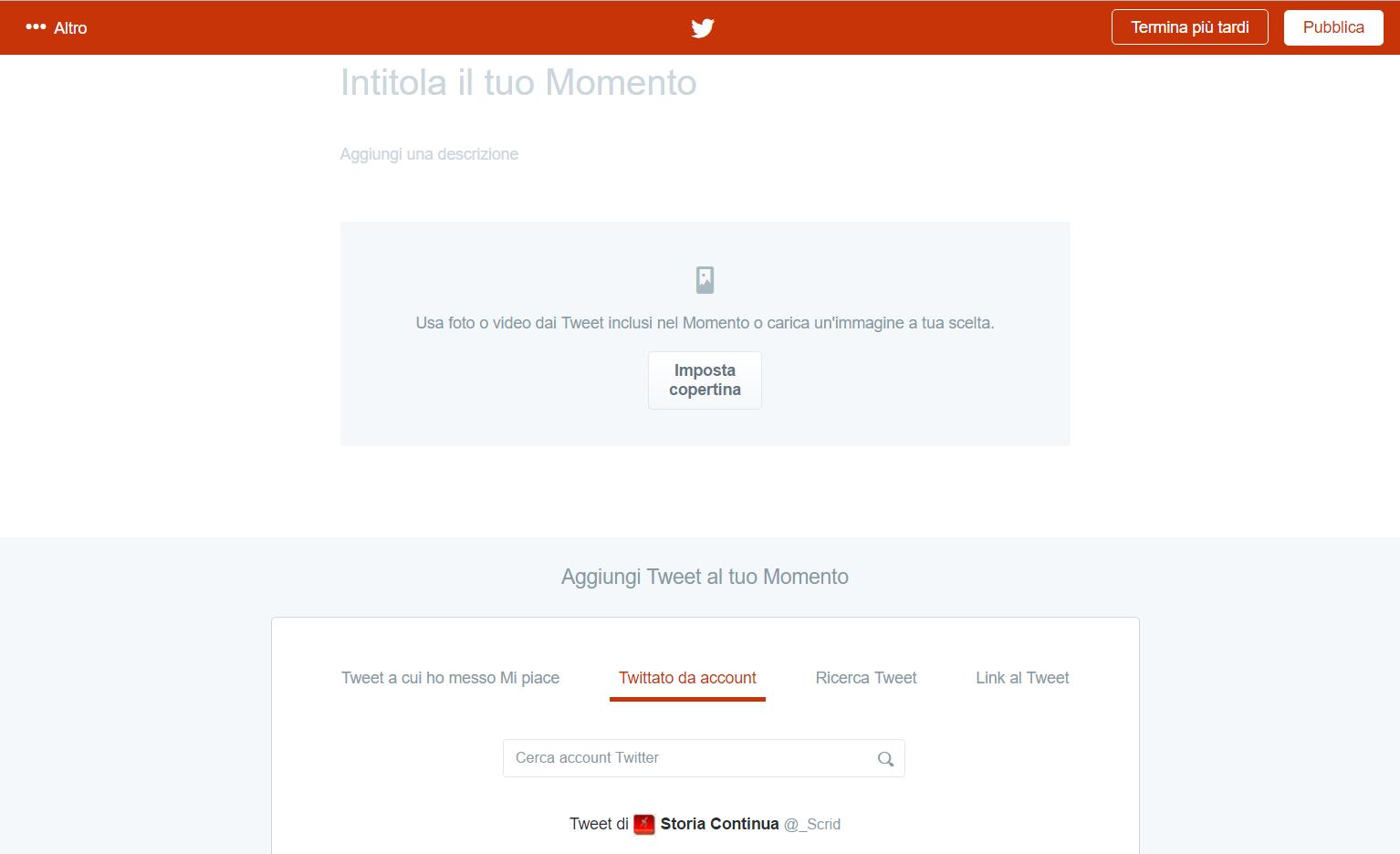 Creare momenti su Twitter
