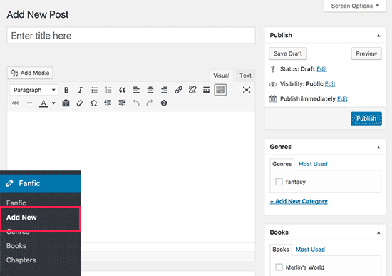 Aggiungere un post con WriteShare plugin