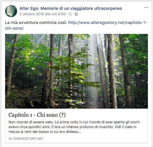 Post della pagina facebook del romanzo Alter Ego