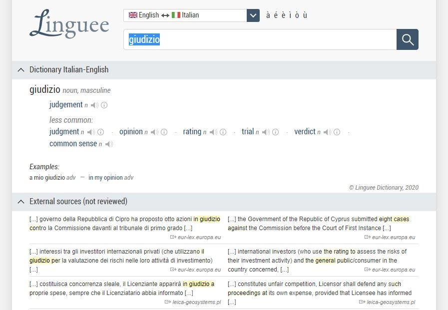 Linguee dizionario online